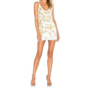 Free People Seeing Double Sequin Slip Dress Ivory